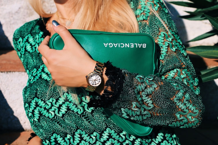 gold fiaba maurice lacroix green triangle clutch bag from balenciaga