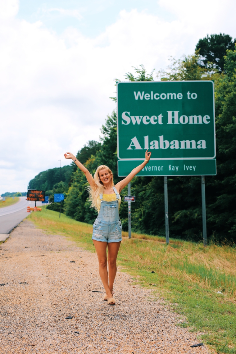 sweet home alabama road sign welcome road trip tour