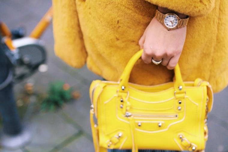 yellow mini city balenciaga bag & gold maurice lacroix fiaba