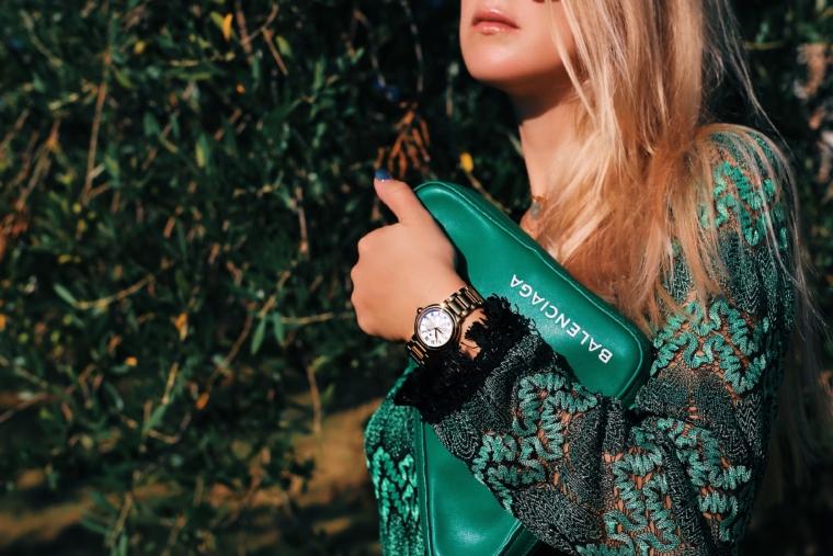 green triangle balenciaga bag gold maurice lacroix fiaba watch