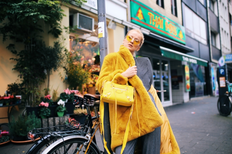 faux fake fur in yellow trend 2018 balenciaga
