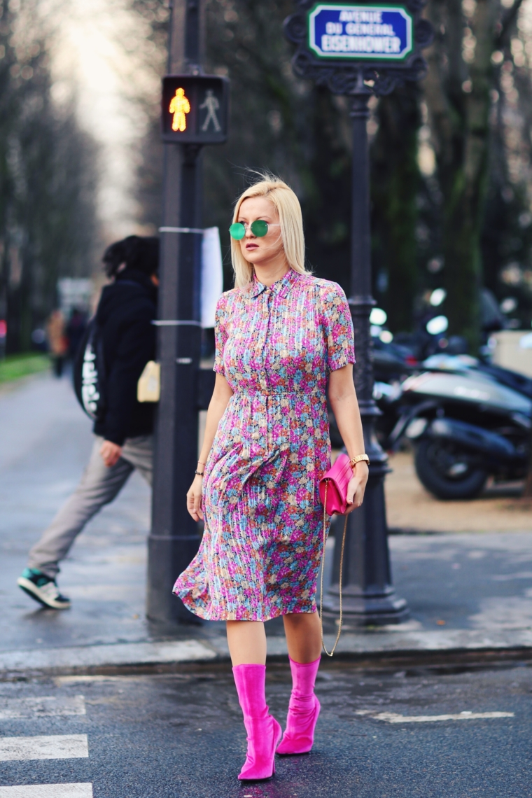 floral blooming flower print vintage dress balenciaga trend paris fashion week streetstyle