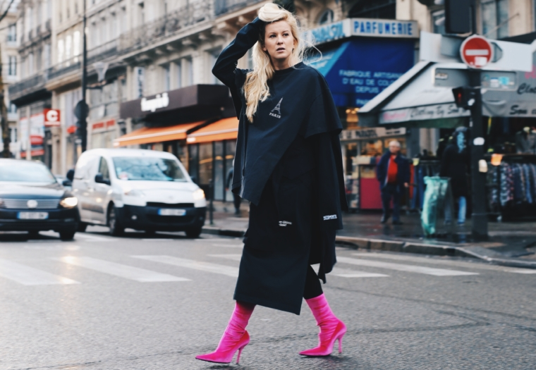 vetements bacl asymetric dress made of may t shirts with pink velvet balenciaga high heel boots in paris streetstyle