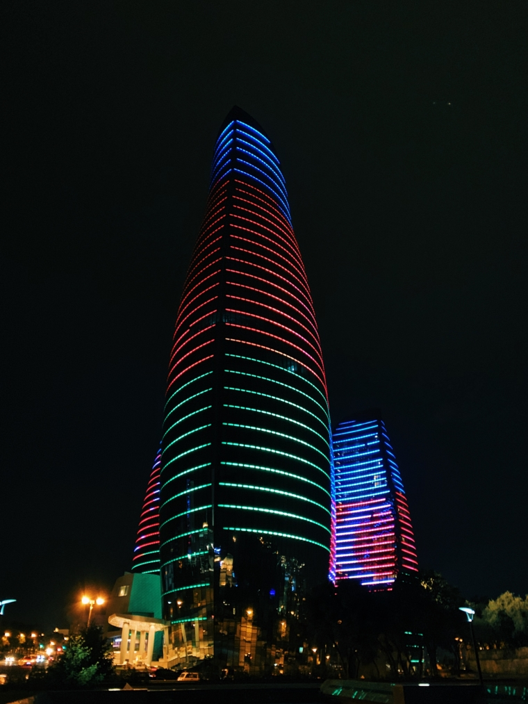 flame towers by night baku Azerbaijan