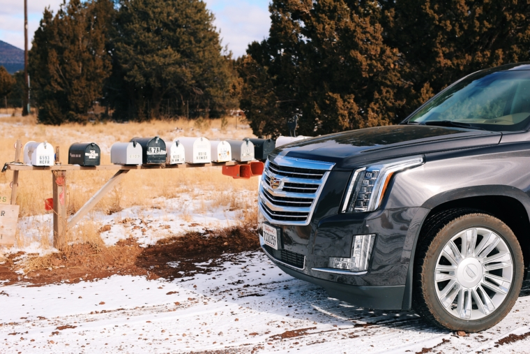 cadillac escalade snow winter road trip tour