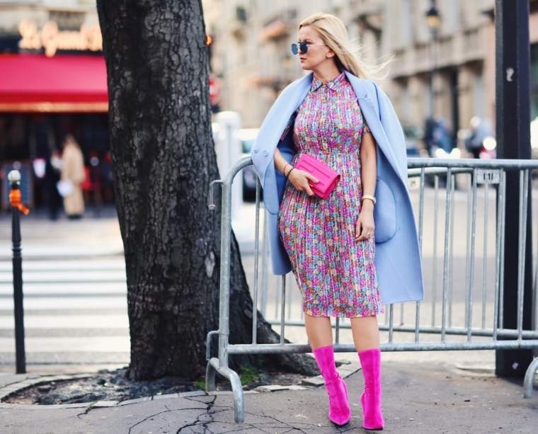 paris fashion week streetstyle vintage floral dress balenciaga style