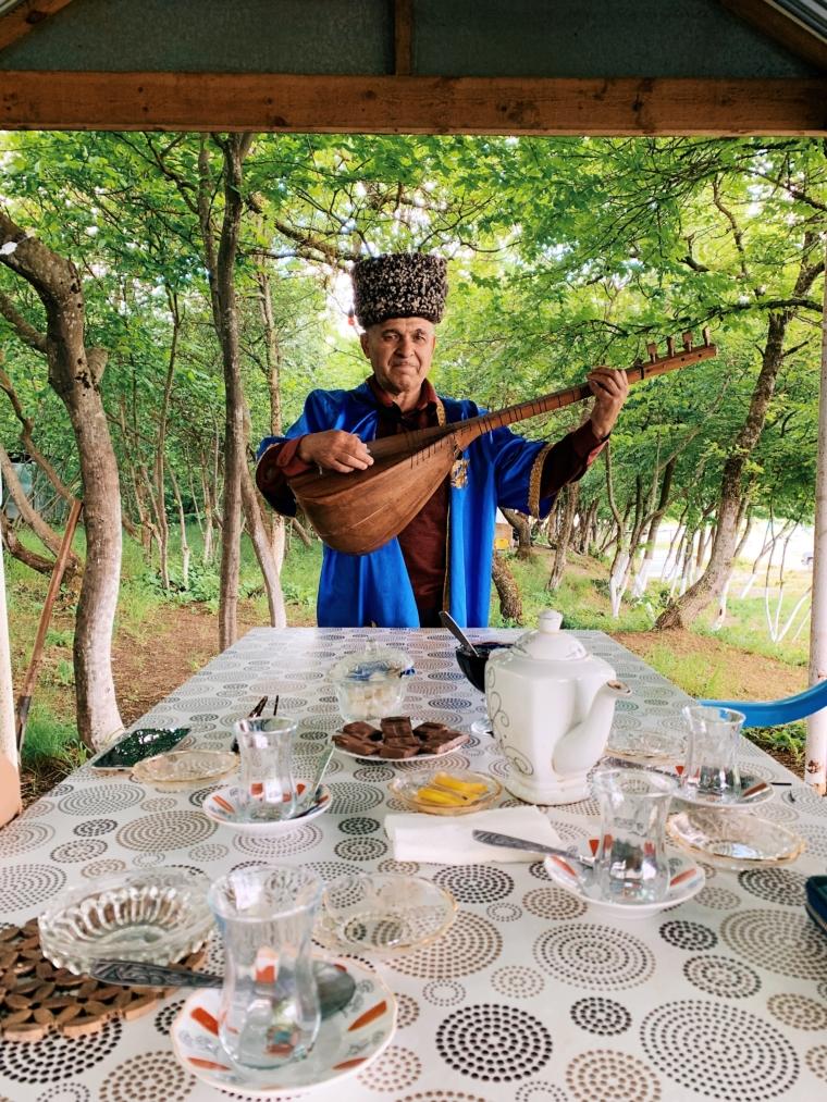 street musician countryside Azerbaijan