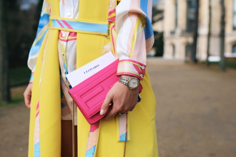 pink fendi bag with gold hardwear leonard dress maurice lacroic bicolor aikon watch with diamonds