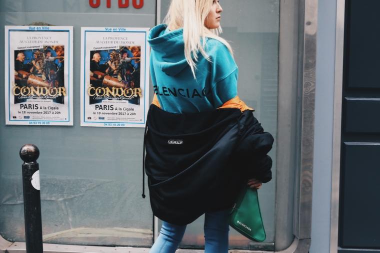 turquoise limited edition hoodie sweater balenciaga bomber jacket vetements green bag balenciaga