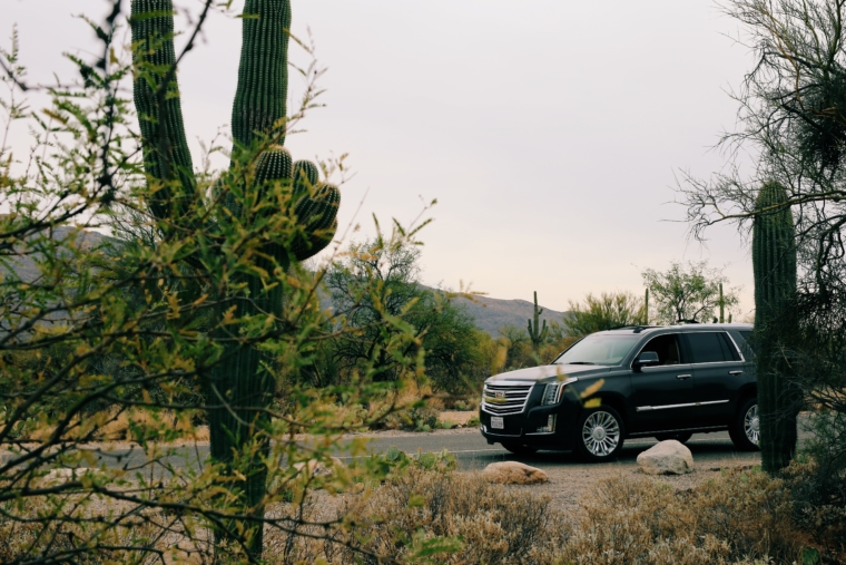 cadillac escalade road trip arizona Saguaro National Park