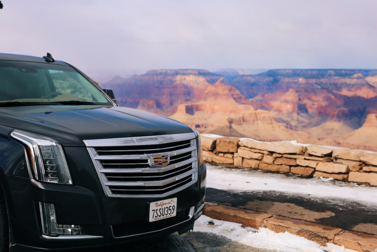 cadillac escalade snow winter road tour crand canyon