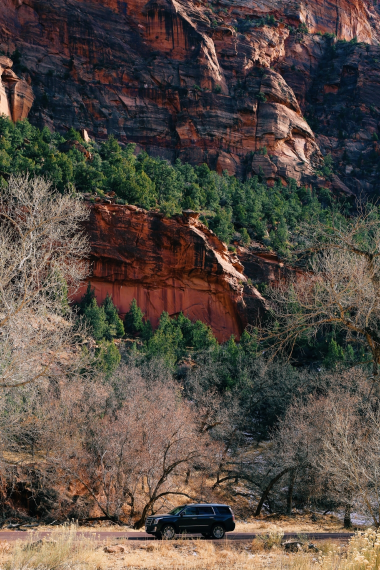 zion national park utah road trip tour cadillac escalade