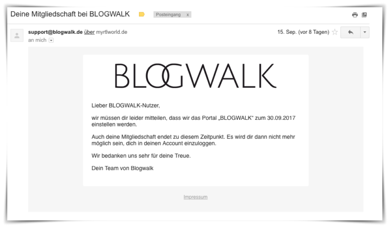 ende blogwalk wird eingestellt
