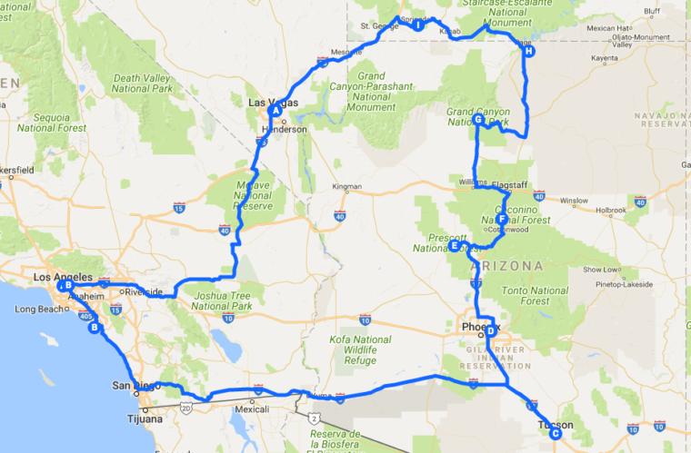 uas road trip reise bericht arizona utah kalifornien