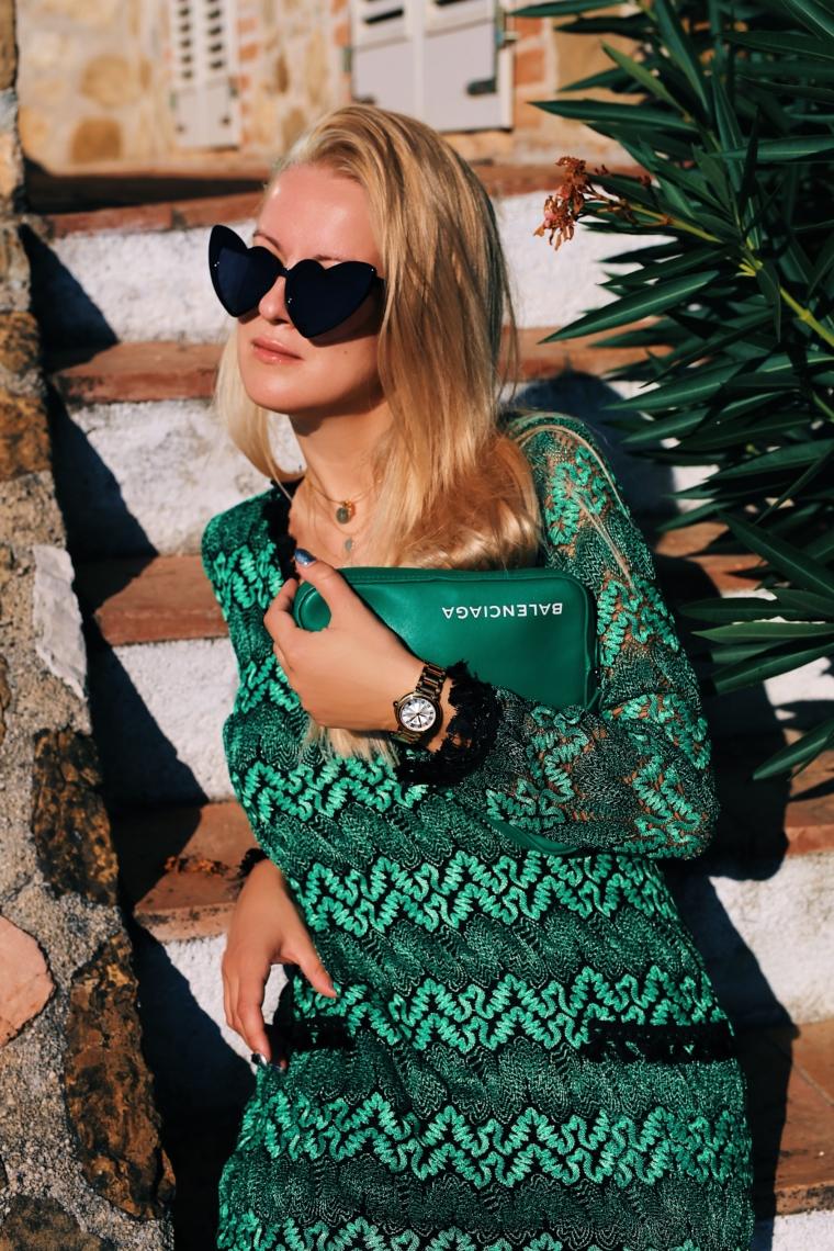 ana alcazar green & black dress balenciaga triangle clutch bag