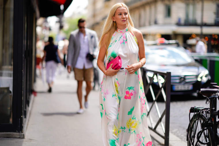 paris fashion week 2019 2018 streetstyle leonard silk maxi dress with flower print