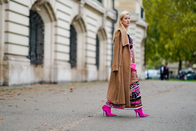 Paris Fashion Week SS 2018 Streetstyle 2017 Leonard Dress Maison Margiela Coat balenciaga pink velvet boots