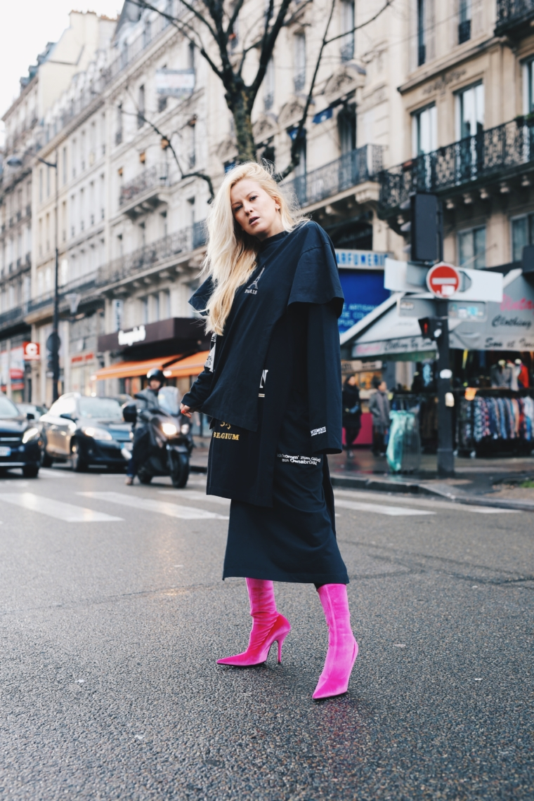 palina kozyrava wearing vetements dress & balenciaga high heels boots at paris fashion week streetstyle