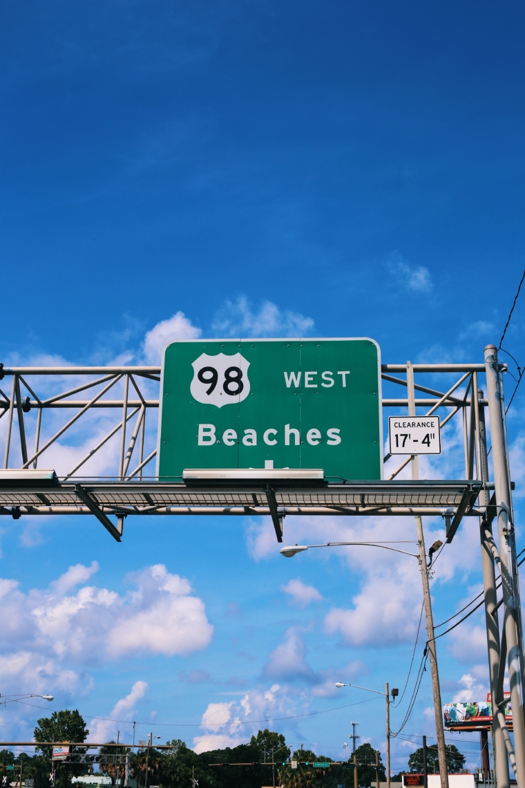 beaches sign florida highway road