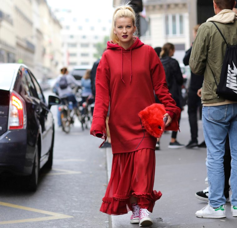 red mm6 sweater dress margiela vetement