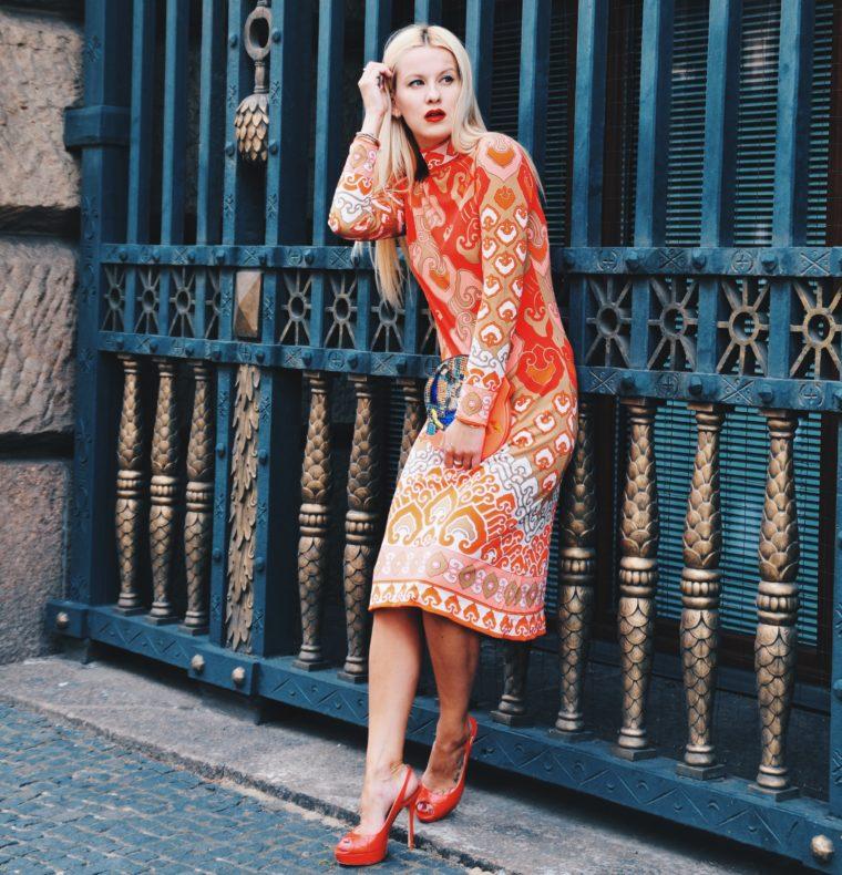 vintage leonard paris dress orange