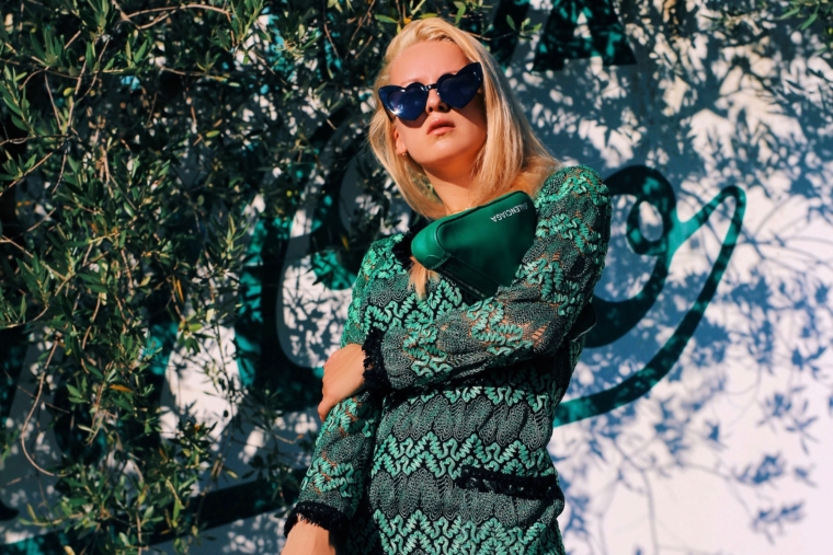 green ana alcazar summer dress with heart shape black sun glasses balenciaga triangle bag clutch