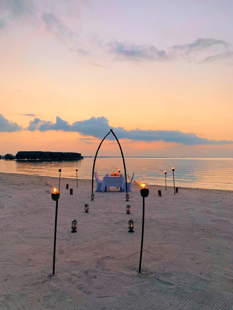 dinner on the beach private Shangri La's Villingili Resort & Spa Maldives