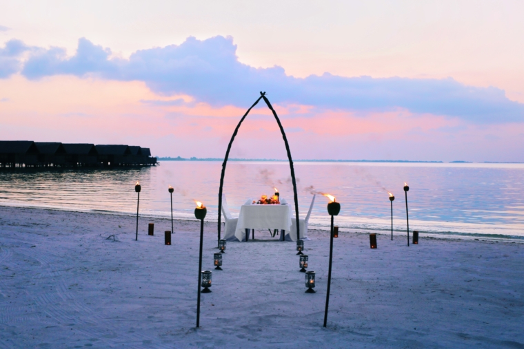 private dinner on the beach Shangri La's Villingili Resort & Spa Maldives
