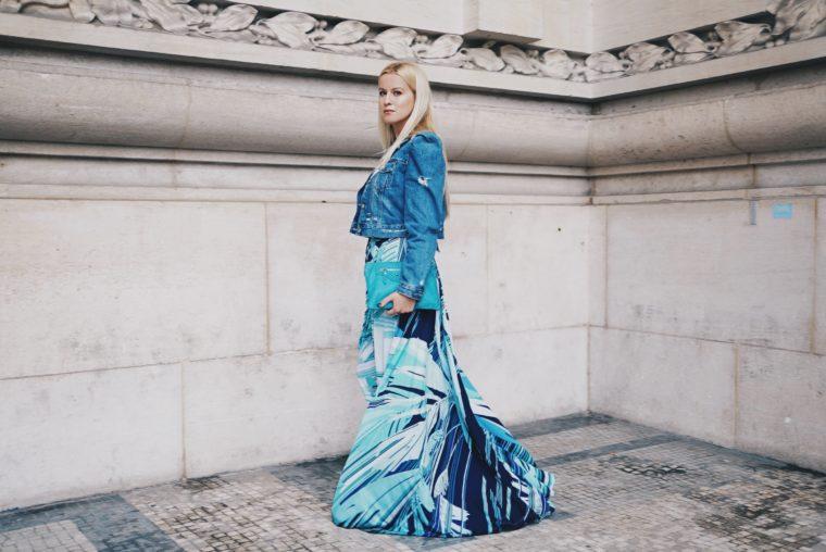 leonard paris flower print dress in blue with denim jacket paris streetstyle