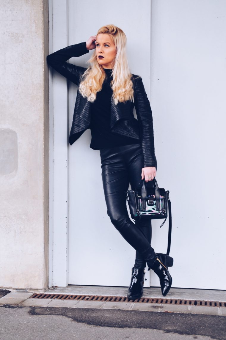 black edgy look leather punky freaky nation lederjacke