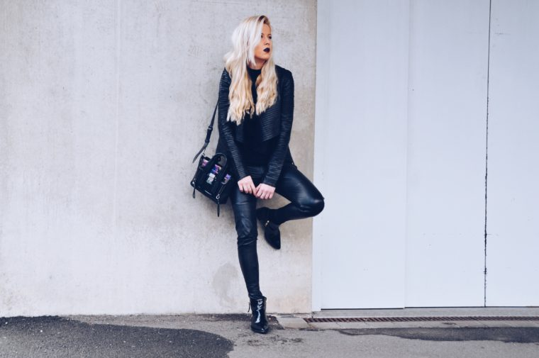 Freaky Nation Lederjacke schwarz edgy urban streetstyle look black