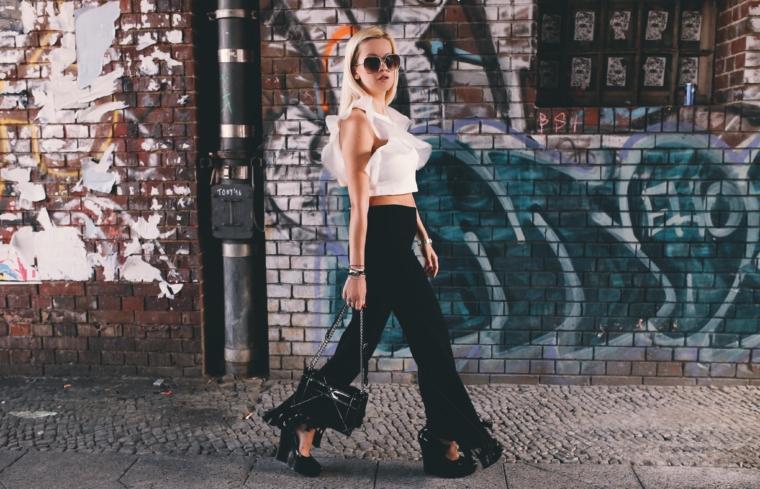 volants & fringes look in black & white streetstyle berlin fashion week