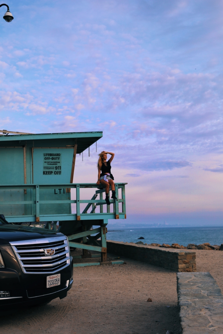 cadillac escalade sun set road trip tour malibu kalifornien