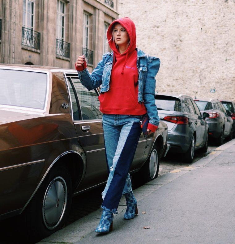 total jeans denim look with red vetements hoodie