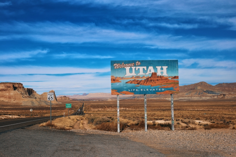 welcome to utah sign road trip