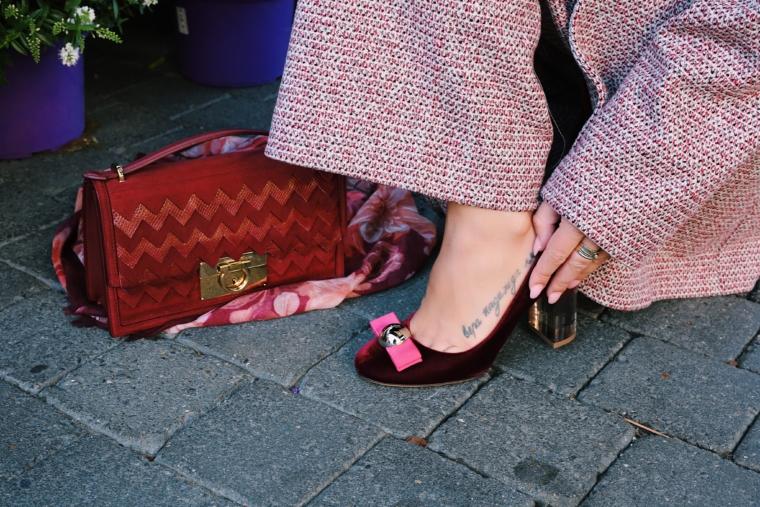 salvatore ferragamo bordeaux high heels & bag must have
