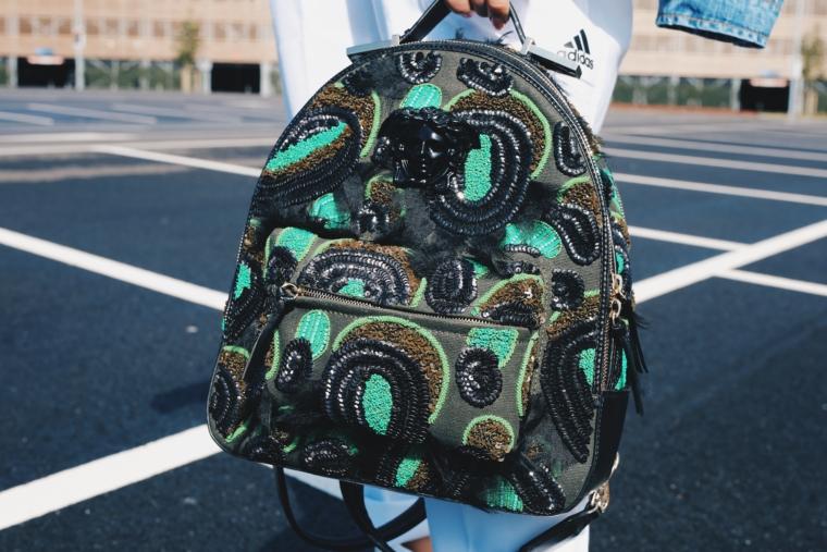 glitter black green versace mini back pack rucksack