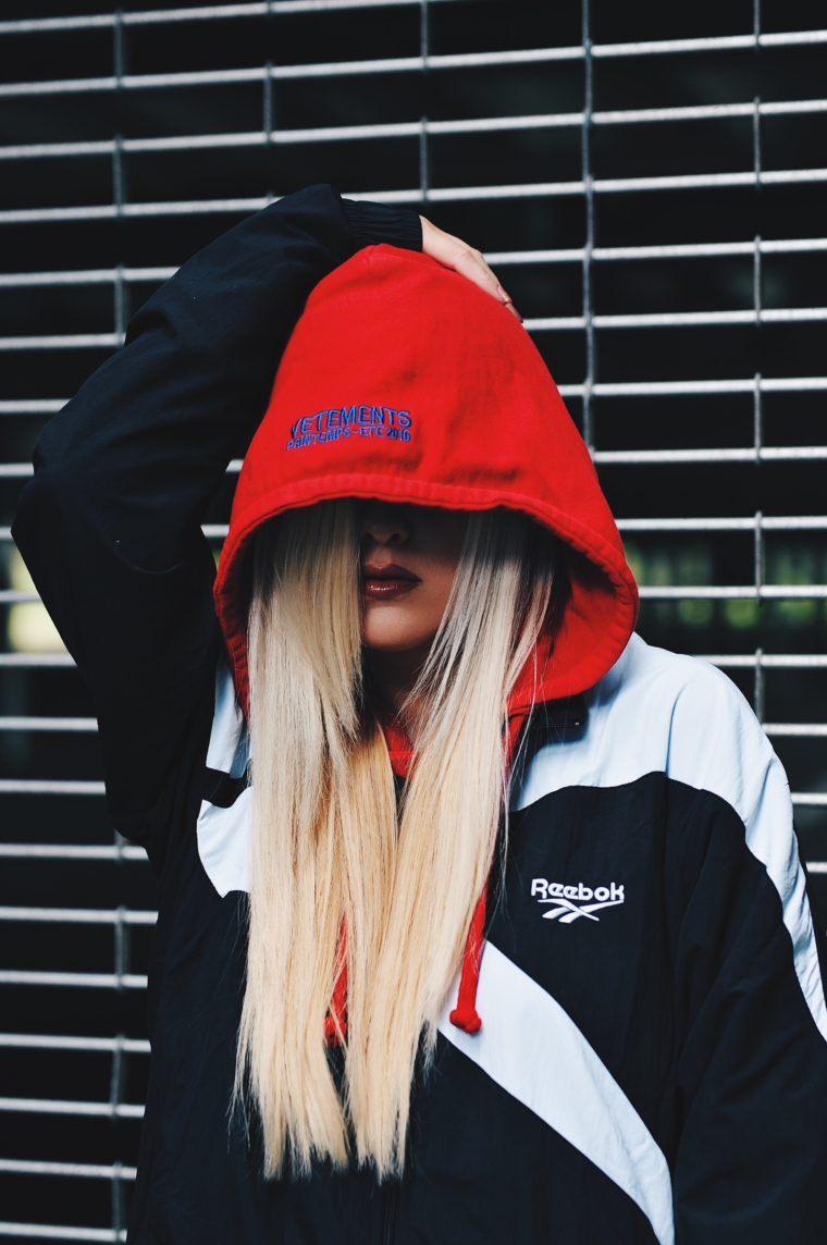palina kozyrava wears vetements hoodie in red limited edition
