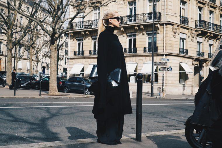 julius paris fashion week streetstyle all black mm6 margiela bow bag