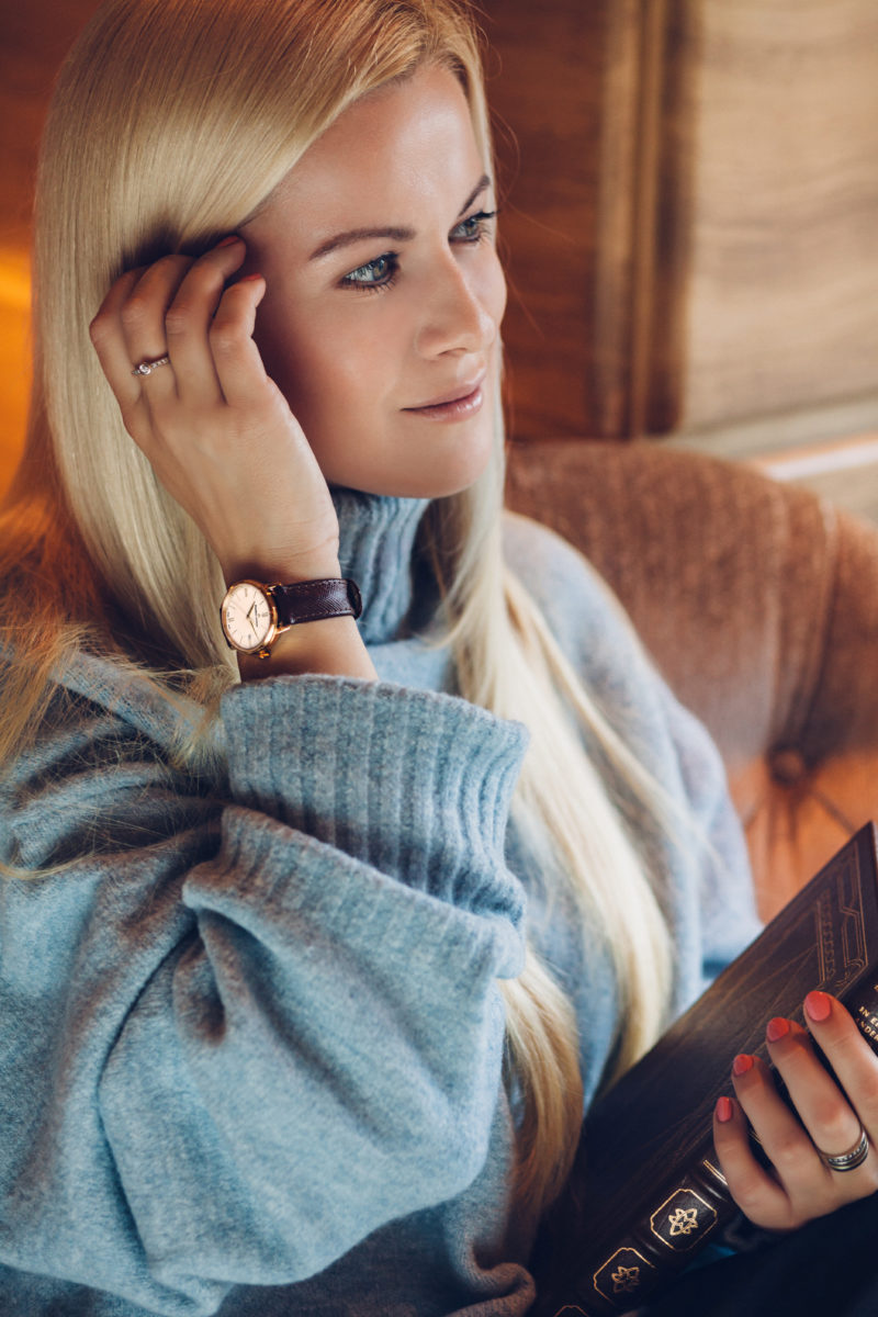 intelligent look, girl, student, luxury watch, brown gold