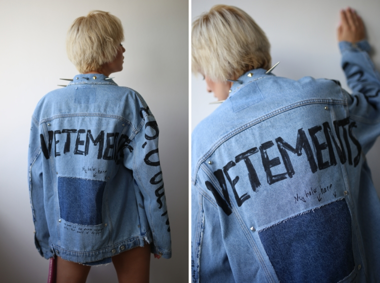 denim vetements jeans jacket georgian graffiti
