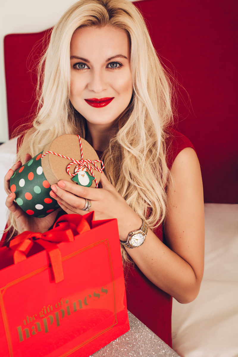 watch with diamonds, christmas gift guide, blonde, red dress