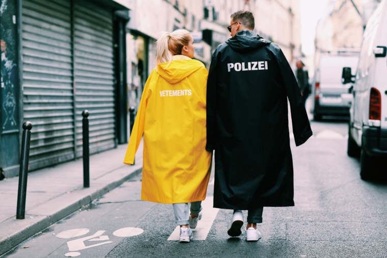vetements polizei rain coat yellow black
