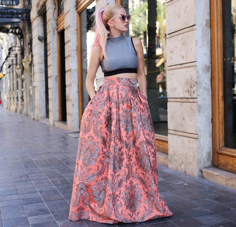 typical spanish valencia traditional modern cloths skirt maxi rose pink