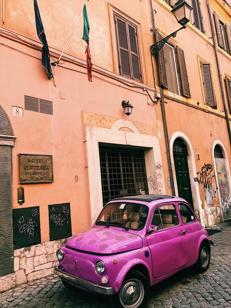 fiat 500 vintage old timer car purple pink rome italy