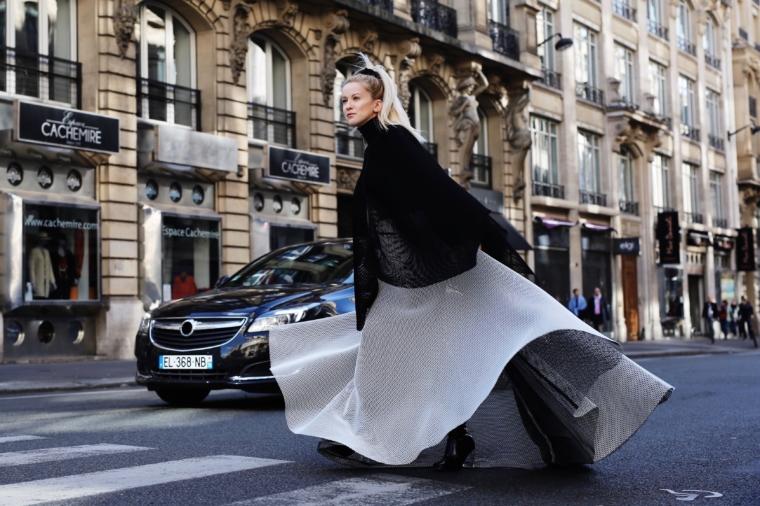 Talbot Runhof schwarz weiß look haute couture style paris fashion week