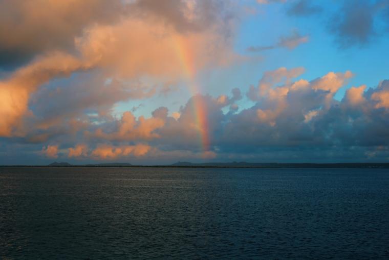 bonaire sunset rainbow sunrire