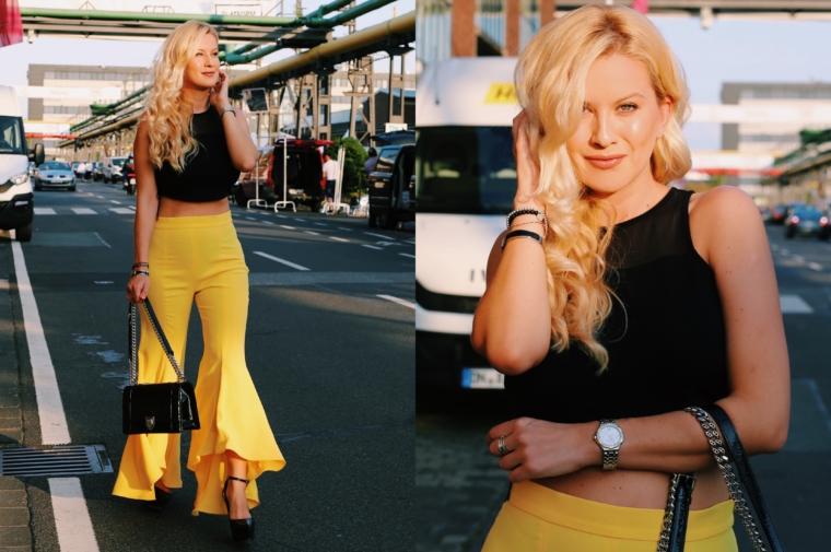 yellow volants pants zara